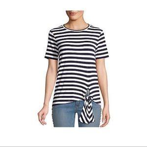 MICHAEl Michael Kors Navy Stripe Front-Tie Top